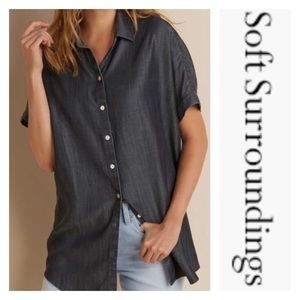 Soft Surroundings Oversized Charcoal Gray Chambray